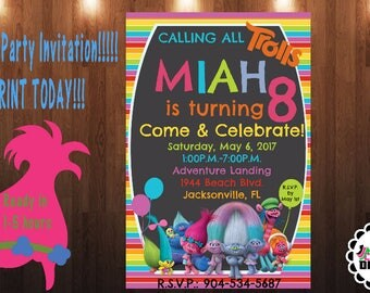 Trolls Party Invitation-Trolls Movie Birthday Party Invite -Troll Invitations - Printable And Digital File -YOU PRINT -5X7 Invitation Size