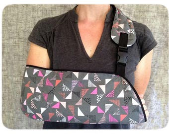 Gray and Pink Geometric arm sling - adult arm sling- teen arm sling - child arm sling