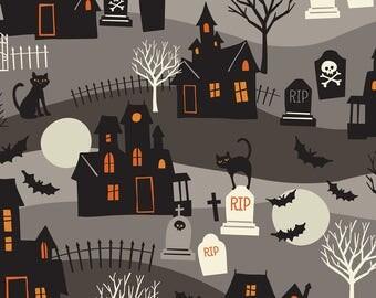 Spooktacular - Haunted Grey - by Maude Assbury - 100% Premium Cotton Fabric (Blend Fabrics 101.107.14.1)