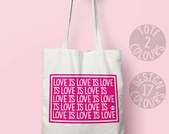 Love is Love cotton tote bag, canvas tote bag, eco bag, personalised gift for her, strong woman, birthday present, resist, grl pwr, rights