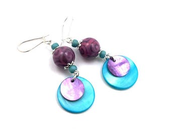Stud Earrings, silver blue turquoise purple, glass, Pearl, boho