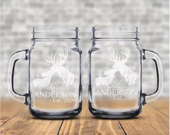 Buck and Doe Personalized Mug • Gift For Couple • Anniversary Gift • Personalized Mason Jar Mugs • Mr. and Mrs. Mugs • Country Wedding Gift