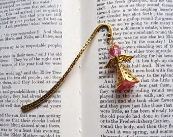 Angel book mark, Guardian Angel page marker, Filigree angel marker, Golden  angel book mark, Metal book mark, pink angel