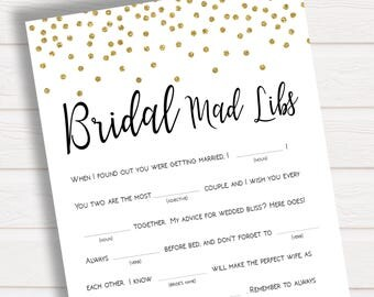 Bridal Mad Libs, Gold Confetti Wedding Mad Libs, Bachelorette Hen Party Games, Bridal Shower Mad Libs, Bachelorette Mad Libs, Mad Libs