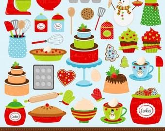 Christmas Baking Clip Art, Holiday Baking Clipart, Christmas Kitchen Cookies Cake Digital Vector Clip Art, Lets bake Clipart