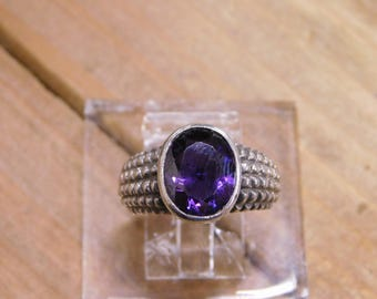 Sterling Silver Amethyst Ring Size 6.25