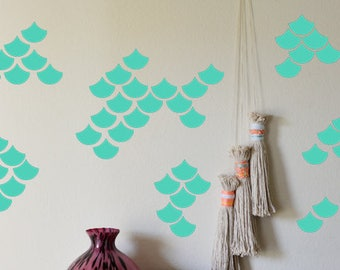70 Mermaid Scale Stickers, Mermaid Wall Decal, Vinyl Stickers, Baby Girl Room  Wall Part 64