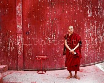 Buddhist Monk on Red Background, Myanmar Photography, Travel Photography, Burma, People Photography, Fine Art Photography, Print Photography