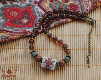 Boho choker necklace bead embroidery jewelry Jasper Agate Bead necklace brown glass classy necklace Casual necklace for woman boho gift girl