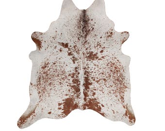 Cowhide Rug - Soft White Speckled Cow hide Rug - White Cowhide Rug