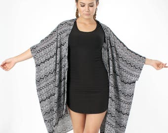 Boho Clothing, Boho Kimono, Coverup, Black White Kimono, Swimsuit Cover up, Kimono Coverup, Oversized Cover up, Tribal, Beach Cover up