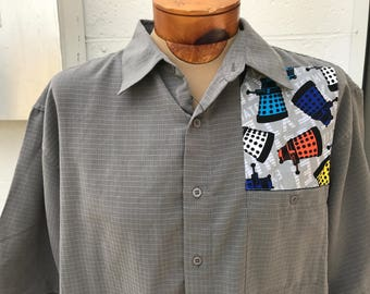 Doctor Who Shirt By Maria B. Vintage Shirt & Doctor Who Daleks Fabric. Size XL.