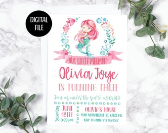 Mermaid Birthday Party Invitation   Under the Sea   Birthday   Birthday Girl   Printable/ Digital File
