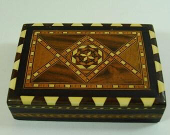 Vintage Taracea Marquetry InLay Trinket Box, Vintage Wooden Jewellery Box, Vintage Spanish Granada Box. Mosaic Pattern Container