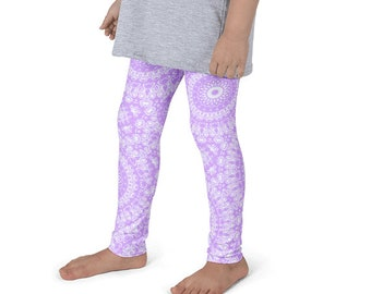 Girls Mauve Yoga Leggings, Mauve and White Leggings for Kids, Children's Activewear