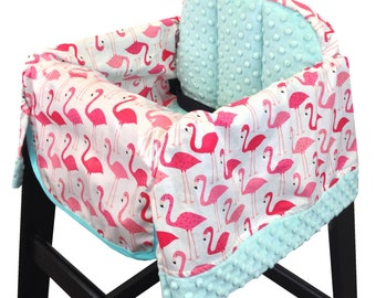 Pink Flamingo Restaurant High Chair Cover Hot Pink Aqua