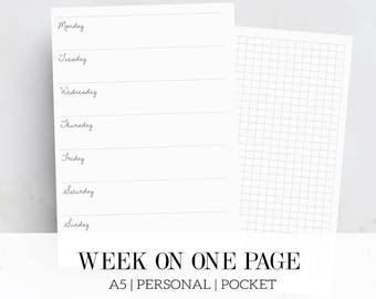Weekly planner inserts, Week on one page, Printable planner inserts, Horizontal planner inserts, A5, Personal, Pocket, Filofax inserts