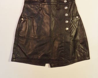 NEW high waist 90s leather skorts// Dead stock with tags// Black goth punk club kid vintage// Size XS small 2/4 USA 24W