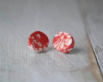 Oval red cherry flowers porcelain earrings