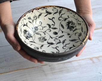 Handmade pottery shallow bowl serving plate black filigree flowers