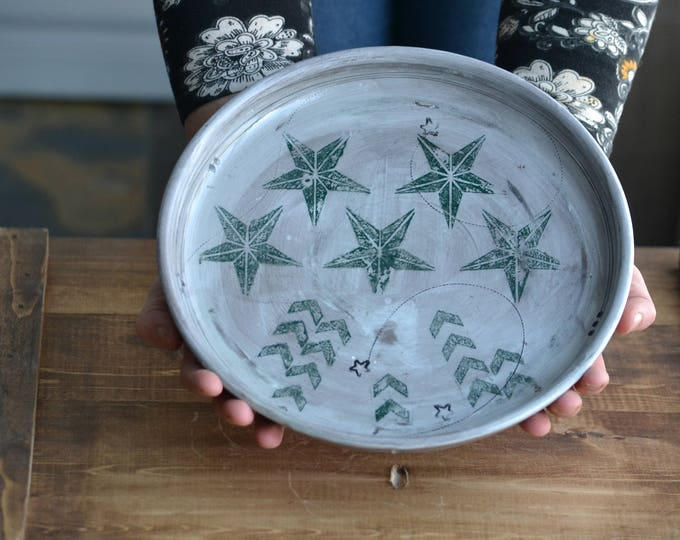 Large rustic handmade pottery serving bowl or plate with stars and lines