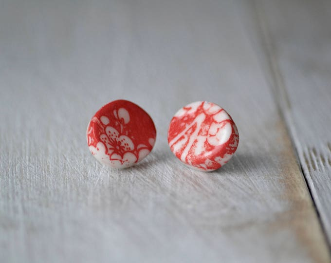 Oval red cherry flowers porcelain earrings