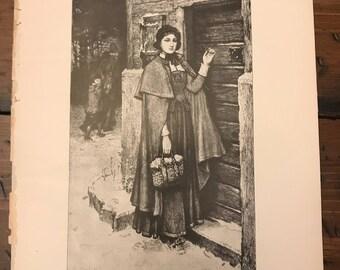 Antique Print -  The Scarlet Letter, Typogravure, Hester Prynne, Hawthorne, 1892 Book Page (C288)