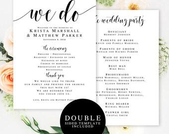 Wedding program fan Instant download Printable wedding fans Template wedding program Wedding favors fans We do wedding Program fan #vm31