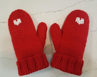 Women's Red Acrylic Mittens