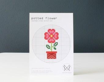Potted Flower - Easy DIY Cross Stitch Kit, Beginners Cross Stitch Kit