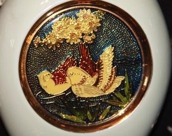 porcelain vase made in Japan the art of cloisonné shippo yaki ducks pair of ducks vase oriental vase asian vase