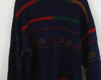 Vintage Cardigan, Vintage Knitwear, 80s, 90s, navy blue, oversized look, with wool