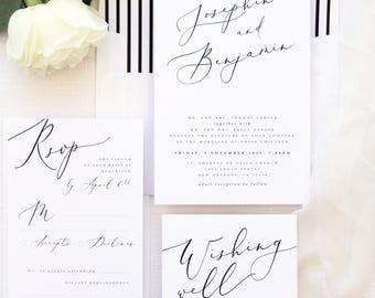 Jennifer Wedding Invitation Sets, Modern and Elegant Calligraphy Wedding Invitations, Printable or Printed Invitation Sets, Weddings