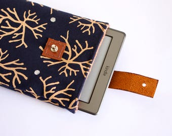 Navy eReader case, tablet or Kindle, handmade and printed