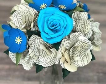 Paper Flowers, Paper Bouquet, Pride and Prejudice, Jane Austen, Jane Austen Gift, Gift for Reader, Romantic Gift, Valentine's Flowers