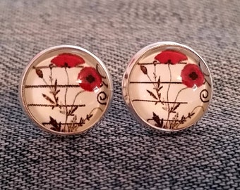 Poppy Earrings- Stud or French Wire, Silver or Bronze