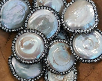 Rhinestone Encrusted Coin Freshwater Pearls-25mm 4.00 each