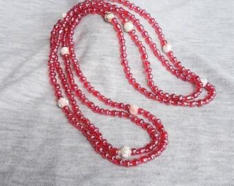 Long Pink Necklace or Wrap Bracelet, Multi Purpose Bracelet or Long Necklace, Pink Wrap Bracelet, Long Beaded Necklace, Stretch Necklace