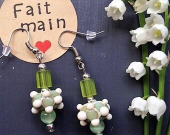 Glass Lampwork earrings / / celadon Green