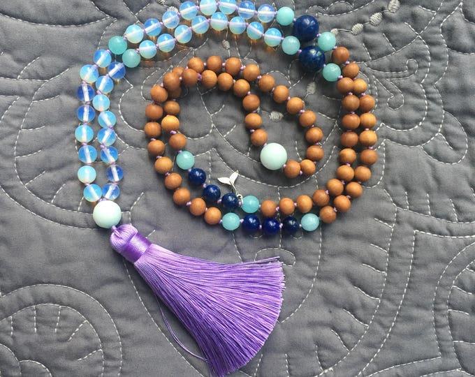 Featured listing image: Ocean Opalite Mala Necklace, Mala Necklace 108, Mala Tassel Necklace, Mala Opalite Necklace, Mala Necklace, Handknotted Necklace