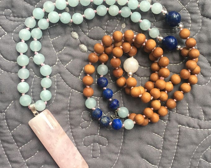 Featured listing image: Heart Chakra Rose Quartz Mala Necklace, Mala Necklace 108, Mala Tassel Necklace, Rose Quartz Mala Necklace, Handknotted Necklace