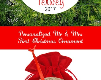 Our First Christmas Married Ornament |  1st Ornament Mr Mrs | Personalized Christmas Ornament | Bridal Shower Gift | Wedding Gift | #OBS2