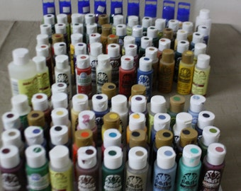 """PLAID ACRYLIC PAINT Lot of 99 Bottles New and Used Assortment """"FolkART"""" Paints"""