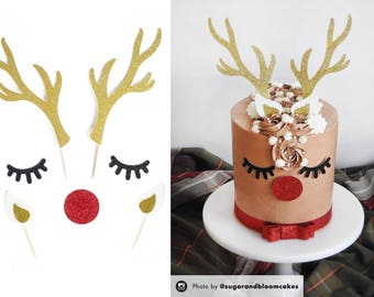 Reindeer Cake Topper, Holiday Cake Topper, Christmas, Christmas Topper, Christmas Decoration, Christmas Party, Rudolph, Gold, Festive, Xmas