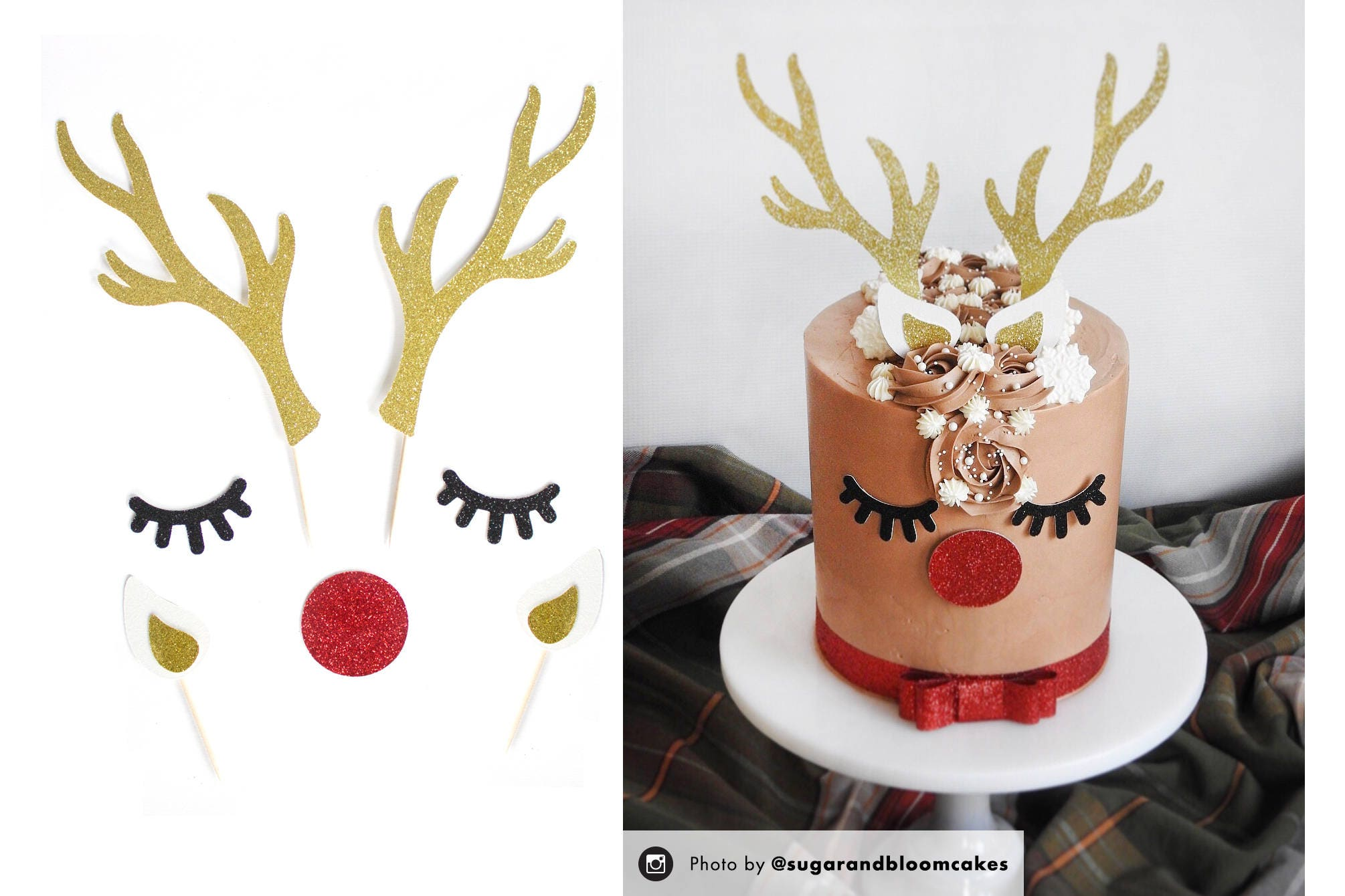 Reindeer Cake Topper, Holiday Cake Topper, Christmas ...