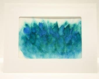 Hand painted card abstract art. blank greeting card with envelope, art collectable card hand made card shades of blue unique art
