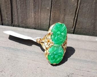 Kirks Carved Jade Ring 14K