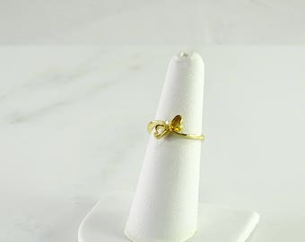 14K Diamond Yellow Gold Bow Ring Size 5.75