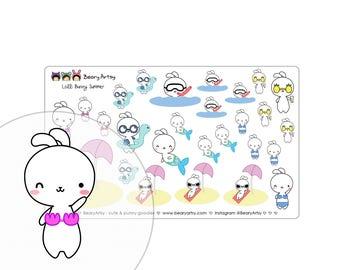 summer stickers - Lolli Bunny - planner accessories - handmade - printed and cut - erin condren - filofax - recollections