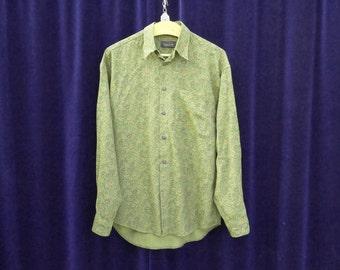 1980's shirt 80's 90's Vintage shirt Green paisley Print Long sleeve button down Bohemian Party Hipster Shirt medium large